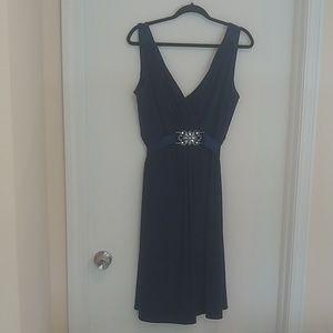 Scarlett Night navy blue vneck evening dress